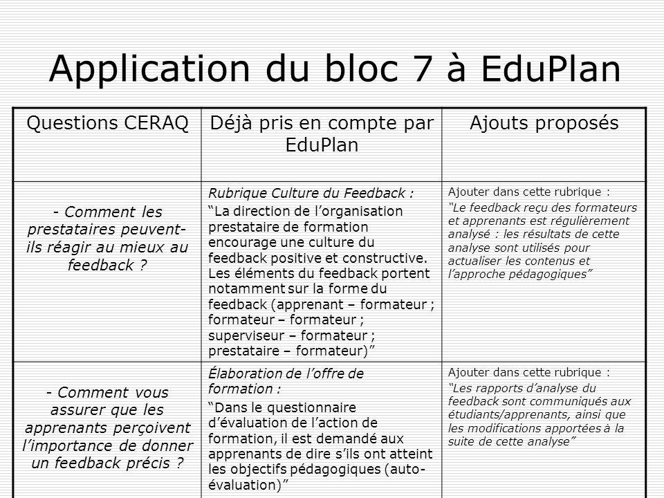 Application du bloc 7 à EduPlan Questions CERAQDéjà pris en compte par EduPlan Ajouts proposés - Comment les prestataires peuvent- ils réagir au mieux au feedback .