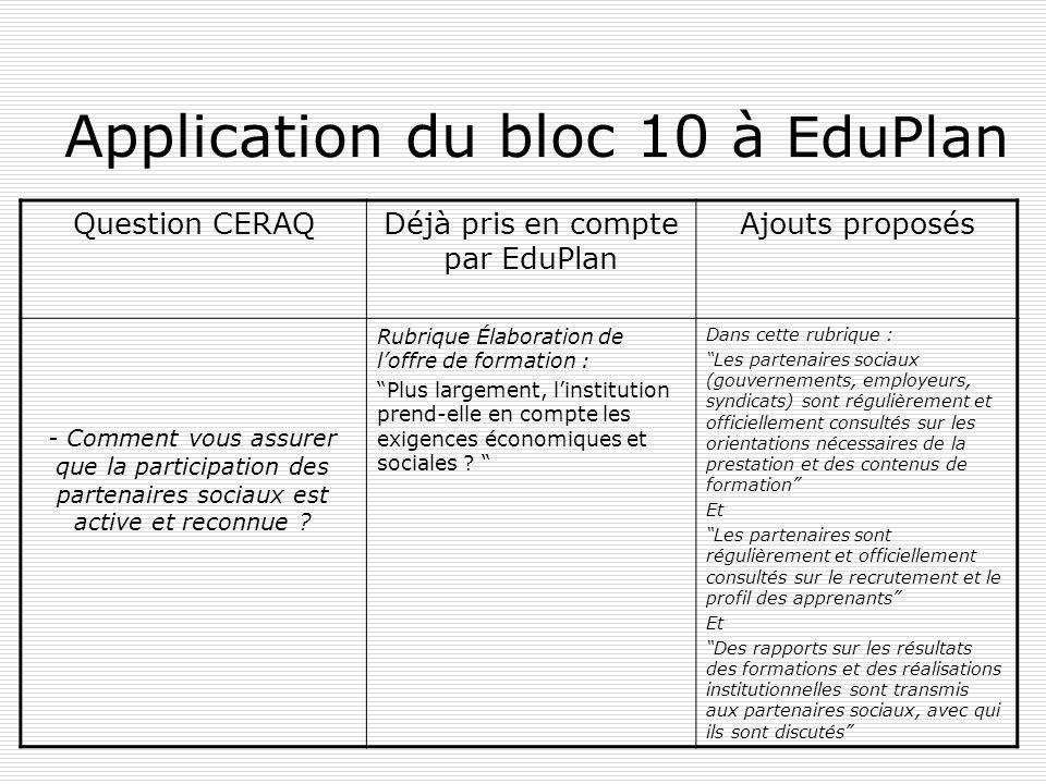 Application du bloc 10 à EduPlan Question CERAQDéjà pris en compte par EduPlan Ajouts proposés - Comment vous assurer que la participation des partenaires sociaux est active et reconnue .