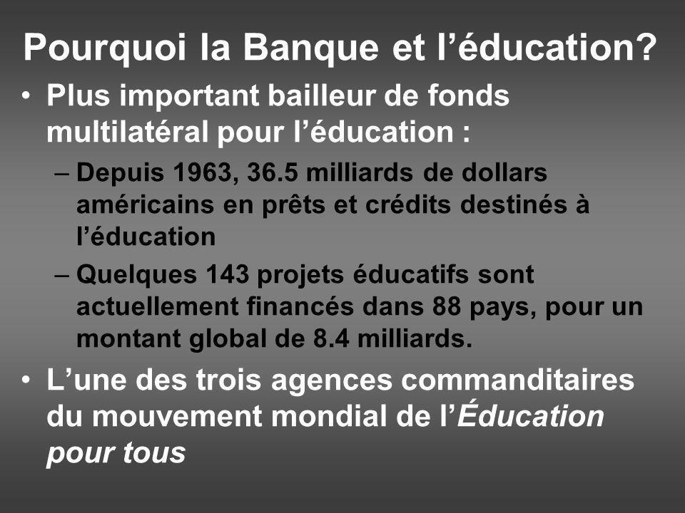 Pourquoi la Banque et léducation.