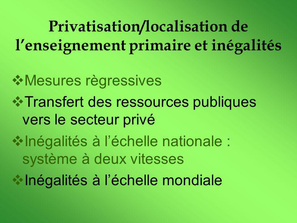 Privatisation/localisation de lenseignement primaire et inégalités Mesures règressives Transfert des ressources publiques vers le secteur privé Inégalités à léchelle nationale : système à deux vitesses Inégalités à léchelle mondiale