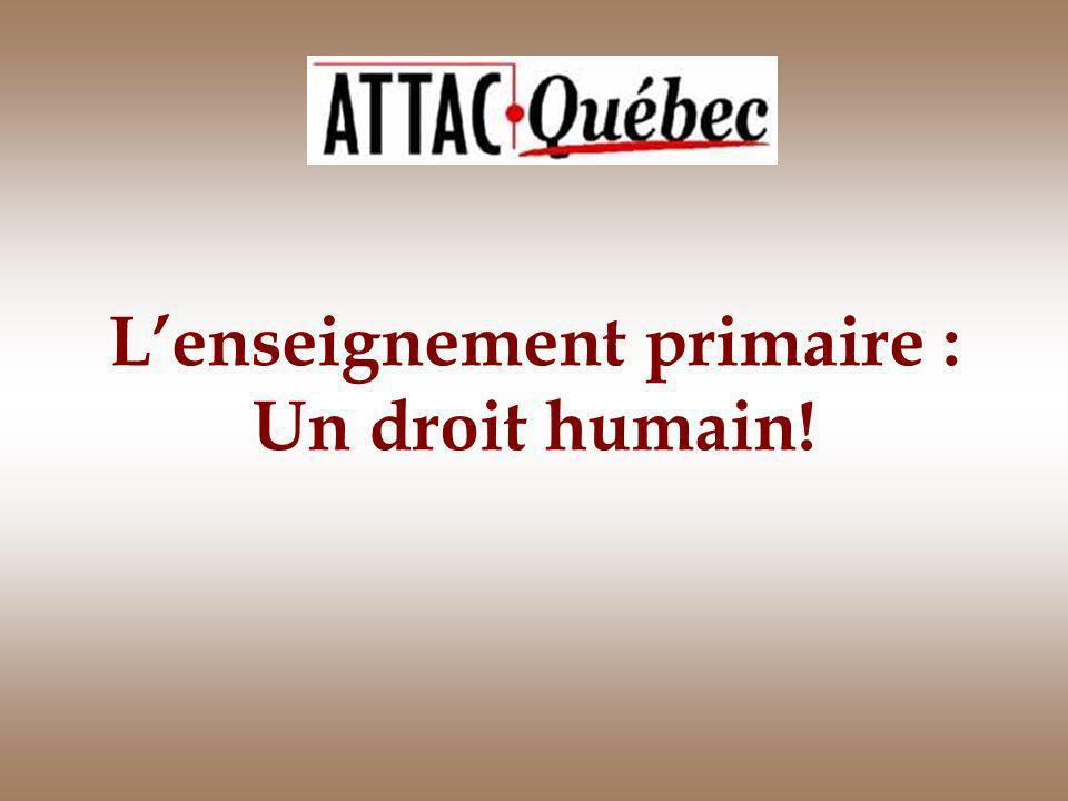 Lenseignement primaire : Un droit humain!