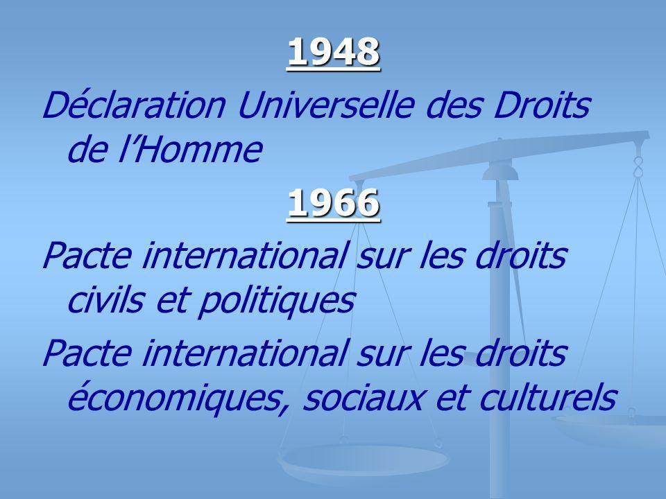1948 Déclaration Universelle des Droits de lHomme1966 Pacte international sur les droits civils et politiques Pacte international sur les droits économiques, sociaux et culturels