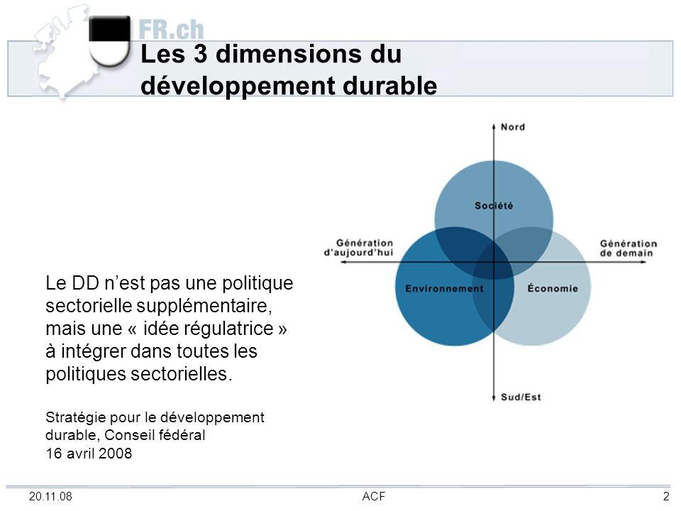 20.11.08 ACF 2 Les 3 dimensions du développement durable Le DD nest pas une politique sectorielle supplémentaire, mais une « idée régulatrice » à inté