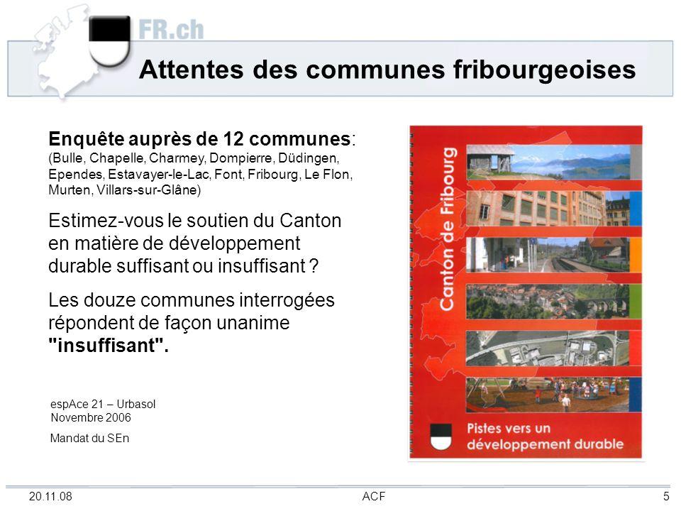 20.11.08 ACF 5 Attentes des communes fribourgeoises Enquête auprès de 12 communes: (Bulle, Chapelle, Charmey, Dompierre, Düdingen, Ependes, Estavayer-