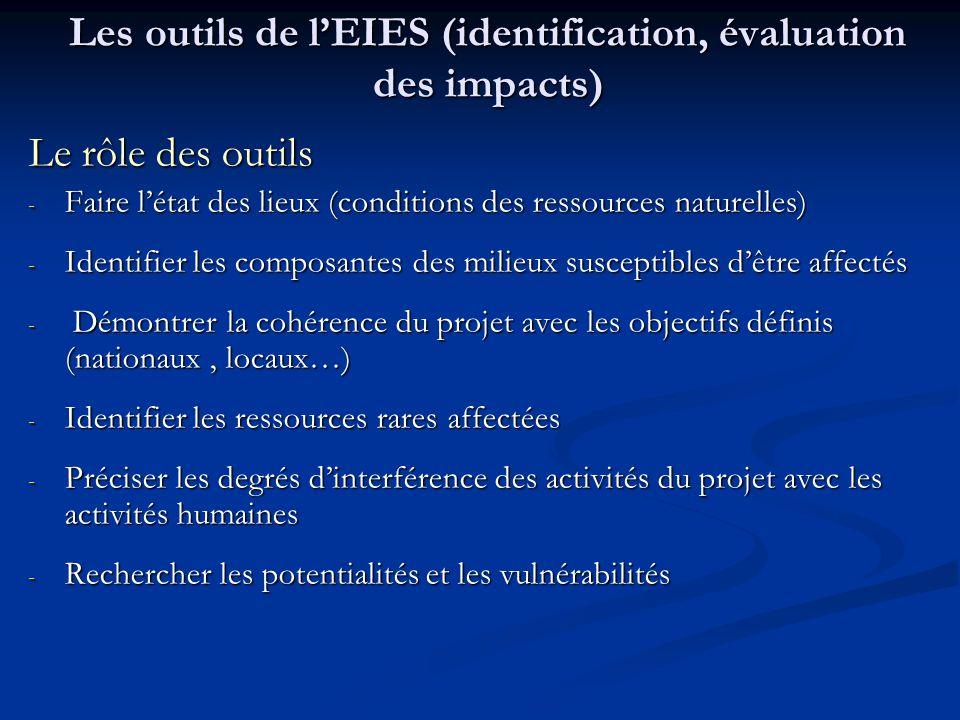 Les outils de lEIES (identification, évaluation des impacts) Le rôle des outils - Faire létat des lieux (conditions des ressources naturelles) - Ident