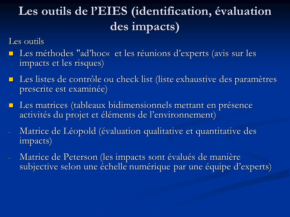 Les outils de lEIES (identification, évaluation des impacts) Les outils Les méthodes
