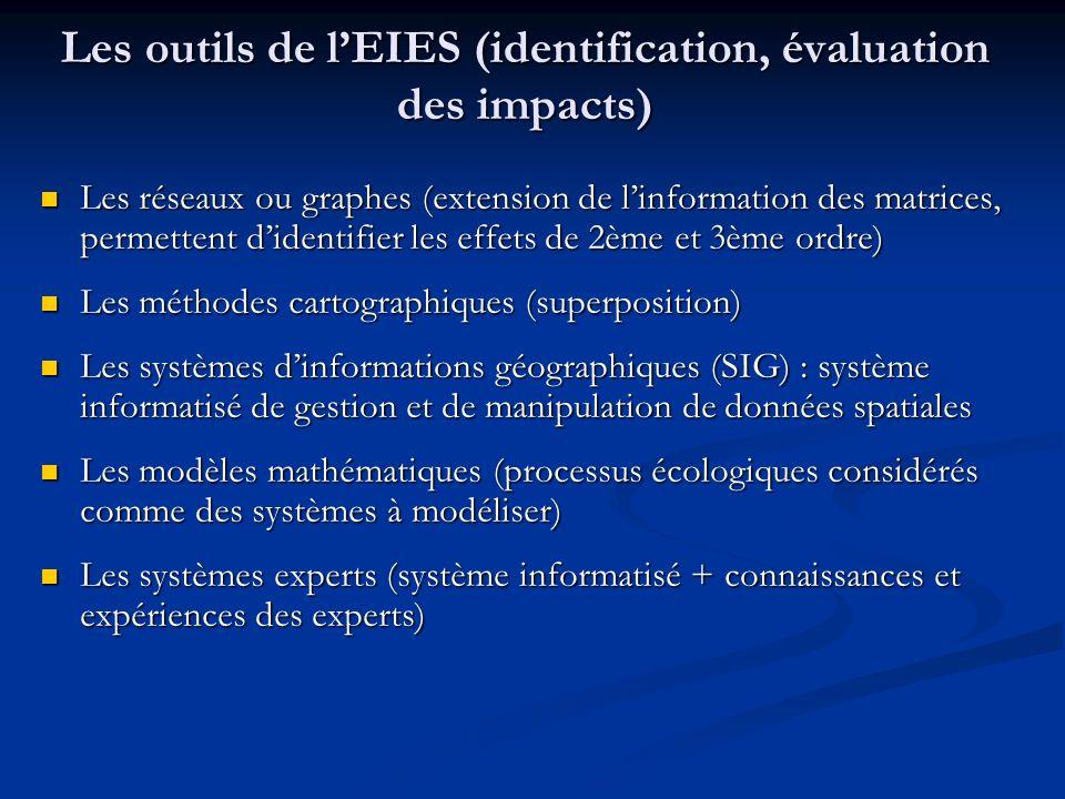 Les outils de lEIES (identification, évaluation des impacts) Les réseaux ou graphes (extension de linformation des matrices, permettent didentifier le