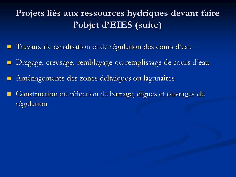 Projets liés aux ressources hydriques devant faire lobjet dEIES (suite) Travaux de canalisation et de régulation des cours deau Travaux de canalisatio