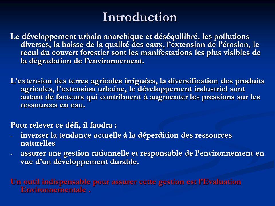 Introduction Le développement urbain anarchique et déséquilibré, les pollutions diverses, la baisse de la qualité des eaux, lextension de lérosion, le