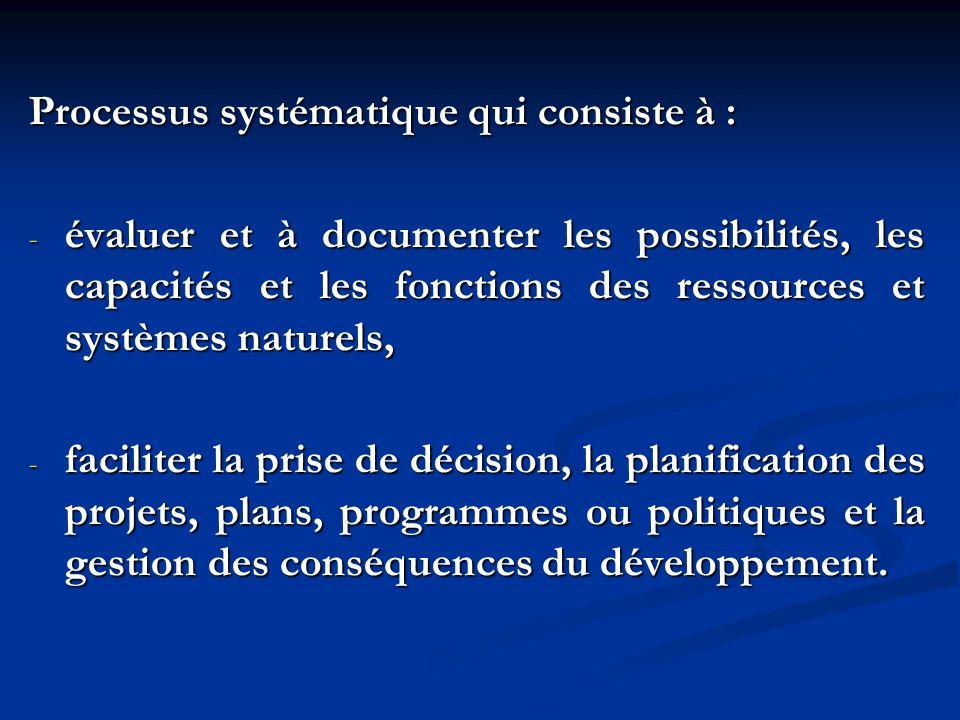 Processus systématique qui consiste à : - évaluer et à documenter les possibilités, les capacités et les fonctions des ressources et systèmes naturels