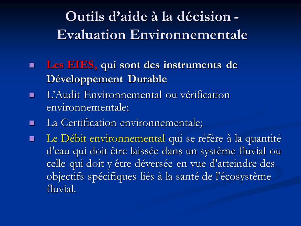 Outils daide à la décision - Evaluation Environnementale Les EIES, qui sont des instruments de Développement Durable Les EIES, qui sont des instrument