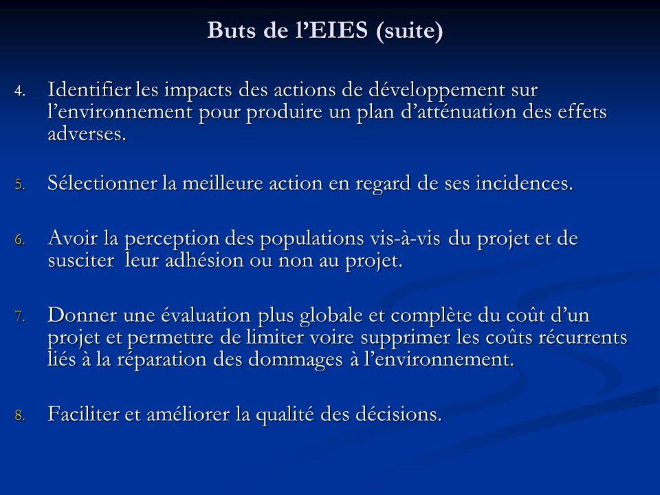 Buts de lEIES (suite) 4. Identifier les impacts des actions de développement sur lenvironnement pour produire un plan datténuation des effets adverses