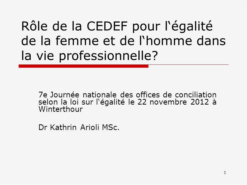 1 7e Journée nationale des offices de conciliation selon la loi sur légalité le 22 novembre 2012 à Winterthour Dr Kathrin Arioli MSc.