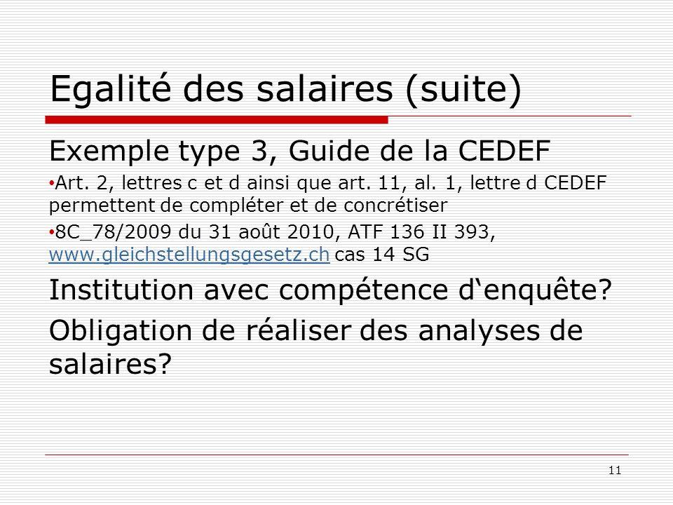 Egalité des salaires (suite) Exemple type 3, Guide de la CEDEF Art.