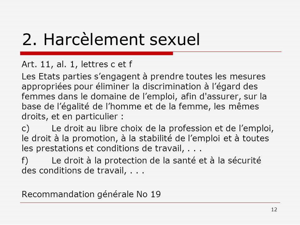 2. Harcèlement sexuel Art. 11, al.