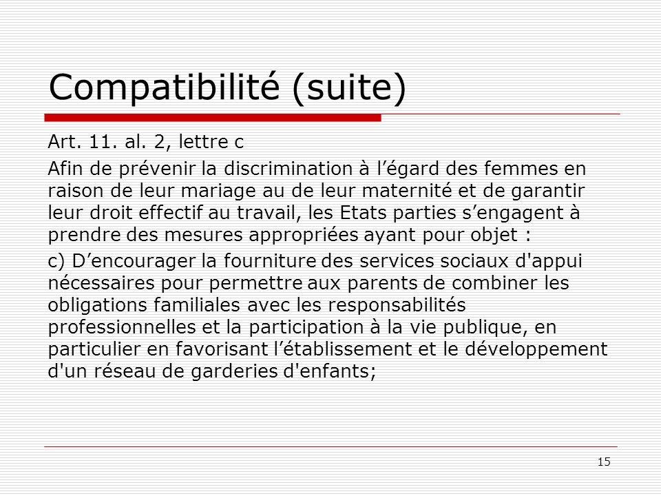 Compatibilité (suite) Art. 11. al.