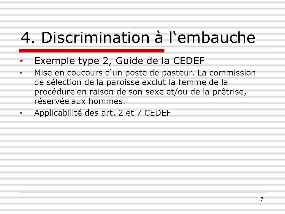 4. Discrimination à lembauche Exemple type 2, Guide de la CEDEF Mise en coucours dun poste de pasteur. La commission de sélection de la paroisse exclu