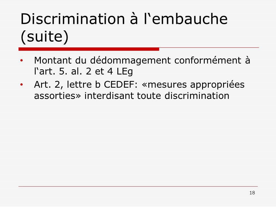 Discrimination à lembauche (suite) Montant du dédommagement conformément à lart.