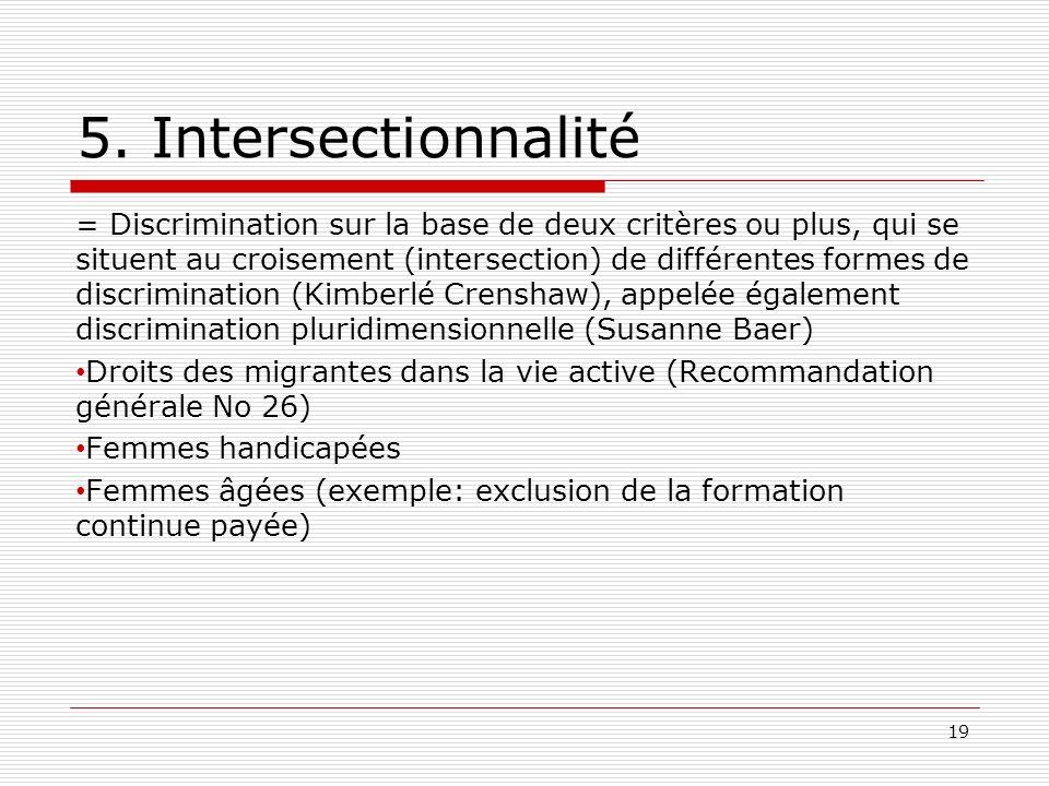 5. Intersectionnalité = Discrimination sur la base de deux critères ou plus, qui se situent au croisement (intersection) de différentes formes de disc