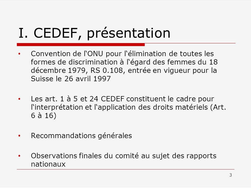 I. CEDEF, présentation Convention de lONU pour lélimination de toutes les formes de discrimination à légard des femmes du 18 décembre 1979, RS 0.108,