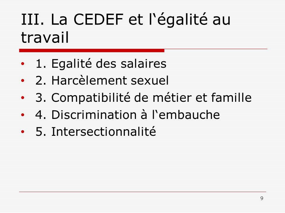 III. La CEDEF et légalité au travail 1. Egalité des salaires 2.