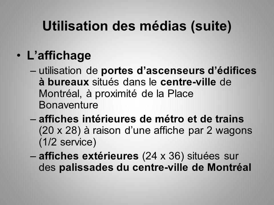 Utilisation des médias (suite) Laffichage –utilisation de portes dascenseurs dédifices à bureaux situés dans le centre-ville de Montréal, à proximité de la Place Bonaventure –affiches intérieures de métro et de trains (20 x 28) à raison dune affiche par 2 wagons (1/2 service) –affiches extérieures (24 x 36) situées sur des palissades du centre-ville de Montréal