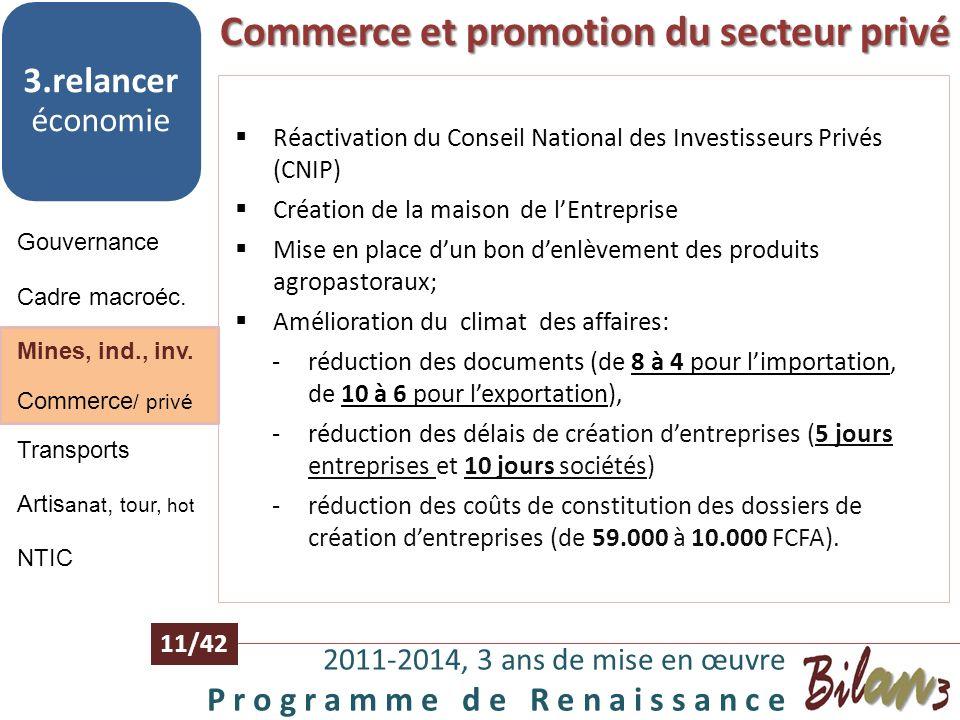 M ines, industries, investissements 2011-2014, 3 ans de mise en œuvre P r o g r a m m e d e R e n a i s s a n c e 10/42 Gouvernance 3.relancer économi