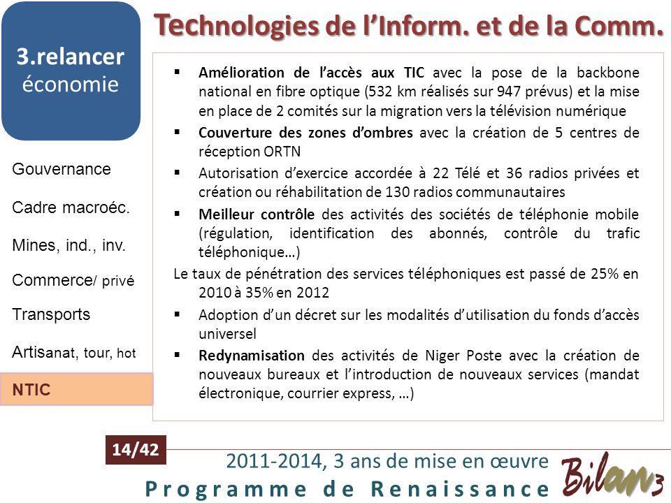 Artisanat, tourisme, hôtellerie 2011-2014, 3 ans de mise en œuvre P r o g r a m m e d e R e n a i s s a n c e 13/42 Gouvernance 3.relancer économie Ca