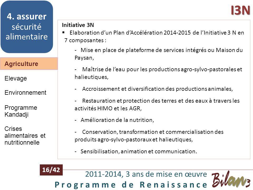 I3N 2011-2014, 3 ans de mise en œuvre P r o g r a m m e d e R e n a i s s a n c e 15/42 Agriculture 4. assurer sécurité alim en taire Elevage Environn