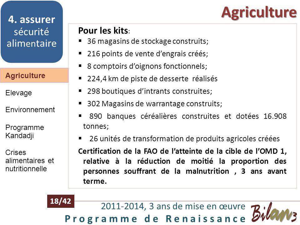 Agriculture 2011-2014, 3 ans de mise en œuvre P r o g r a m m e d e R e n a i s s a n c e 17/42 Agriculture 4. assurer sécurité alim en taire Elevage