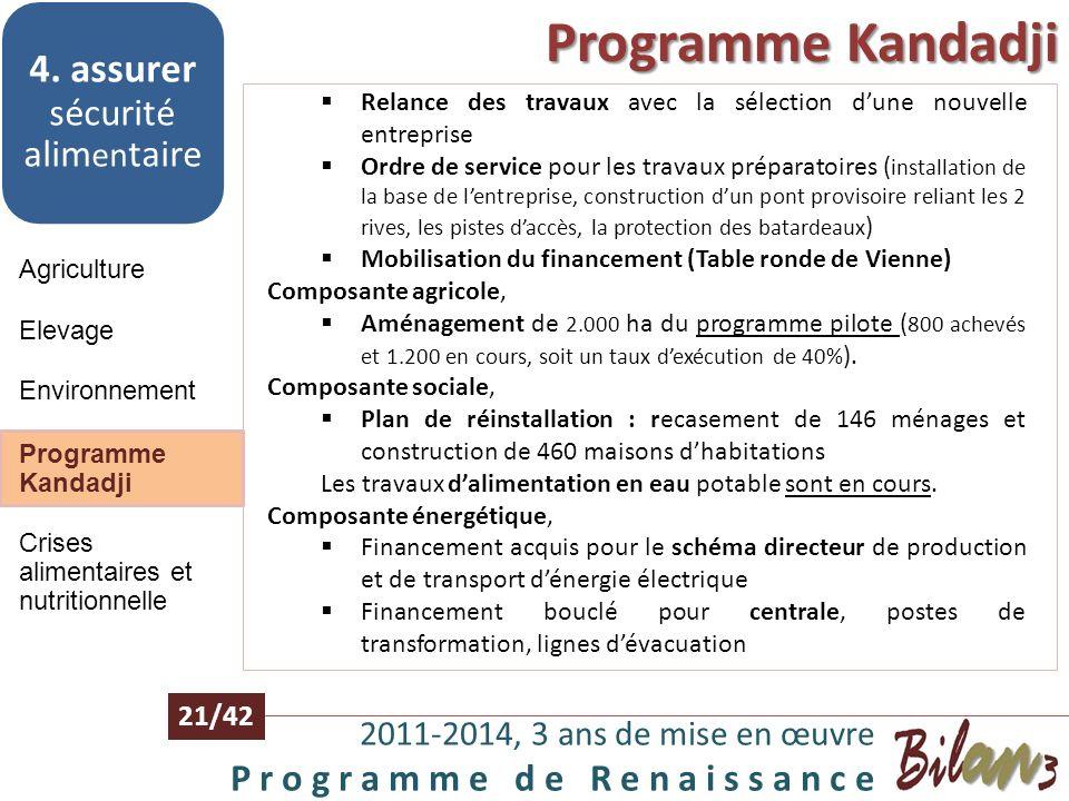 Environnement 2011-2014, 3 ans de mise en œuvre P r o g r a m m e d e R e n a i s s a n c e 20/42 Agriculture 4. assurer sécurité alim en taire Elevag