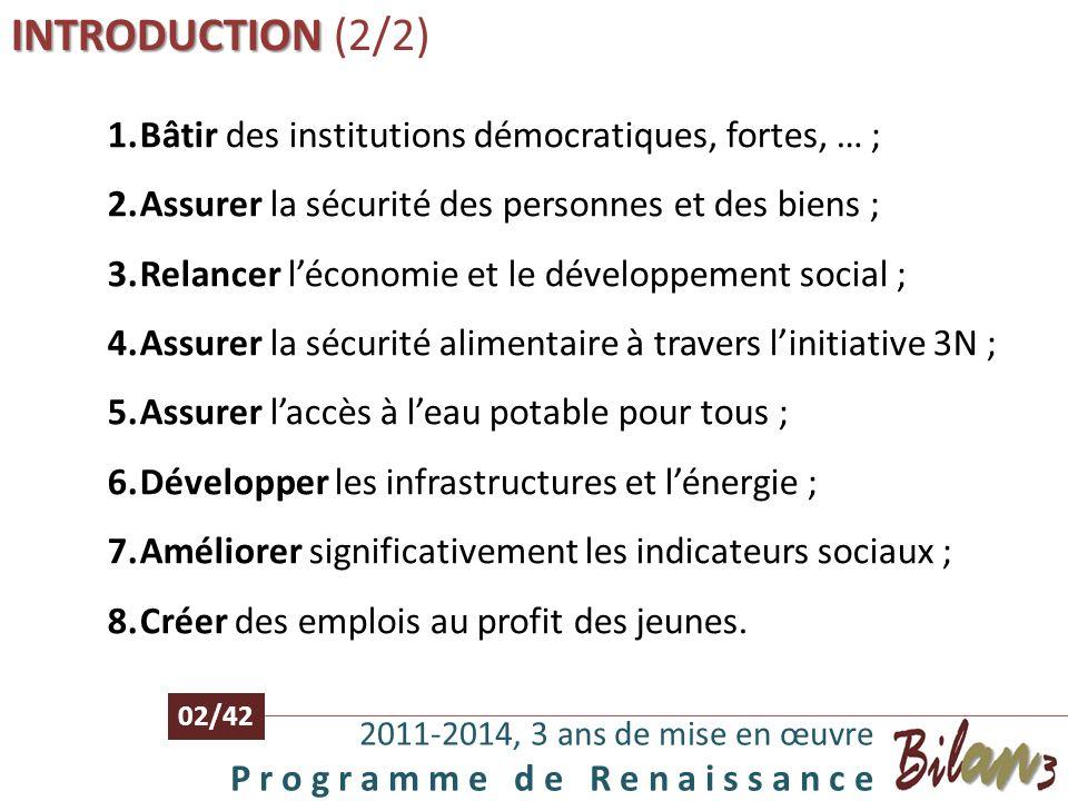 INTRODUCTION INTRODUCTION (1/2) 2011-2014, 3 ans de mise en œuvre P r o g r a m m e d e R e n a i s s a n c e 01/42 SEM Issoufou Mahamadou a été élu P