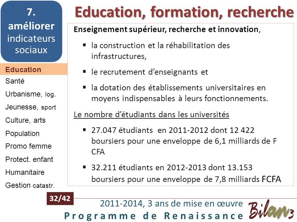 Education, formation, recherche 2011-2014, 3 ans de mise en œuvre P r o g r a m m e d e R e n a i s s a n c e 31/42 Education 7. améliorer indicateurs