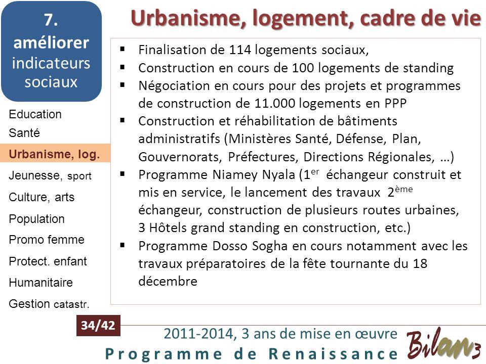 Santé 2011-2014, 3 ans de mise en œuvre P r o g r a m m e d e R e n a i s s a n c e 33/42 Education 7. améliorer indicateurs sociaux Santé Urbanisme,