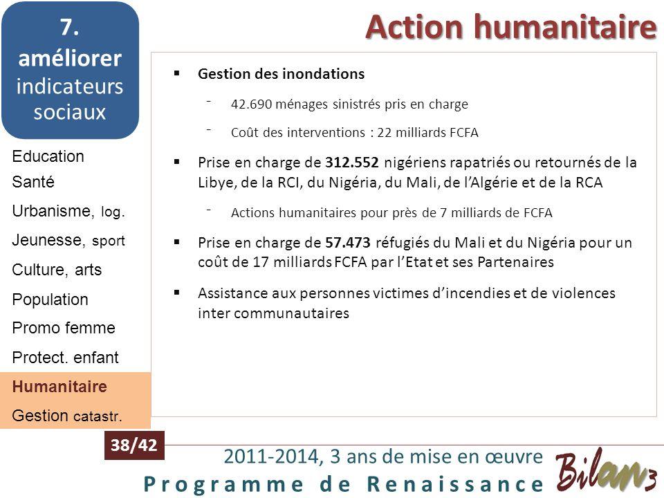 Population, Promotion de la femme, protection de lenfant 2011-2014, 3 ans de mise en œuvre P r o g r a m m e d e R e n a i s s a n c e 37/42 Education