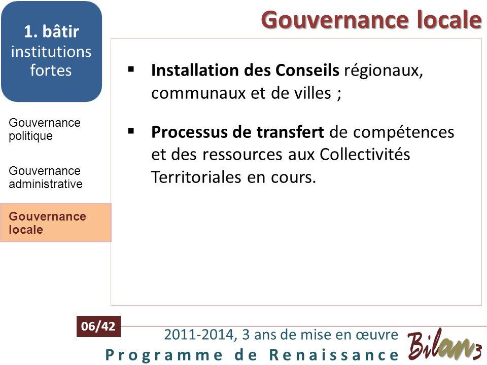 Gouvernance administrative 2011-2014, 3 ans de mise en œuvre P r o g r a m m e d e R e n a i s s a n c e 05/42 Gouvernance politique 1. bâtir institut