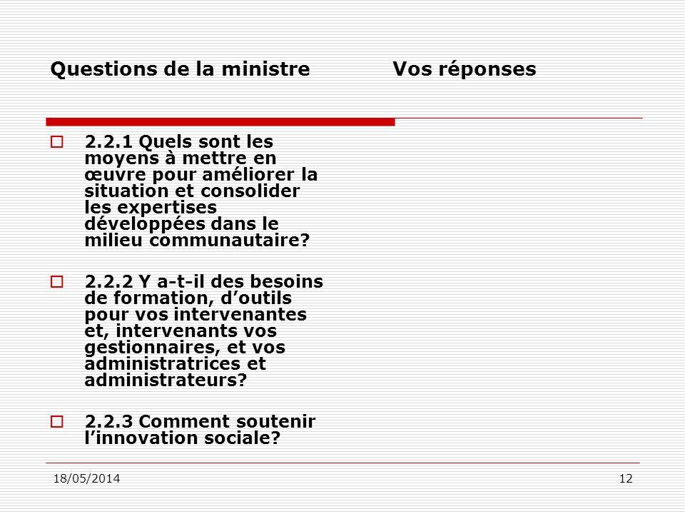 18/05/201412 Questions de la ministre Vos réponses 2.2.1 Quels sont les moyens à mettre en œuvre pour améliorer la situation et consolider les expertises développées dans le milieu communautaire.