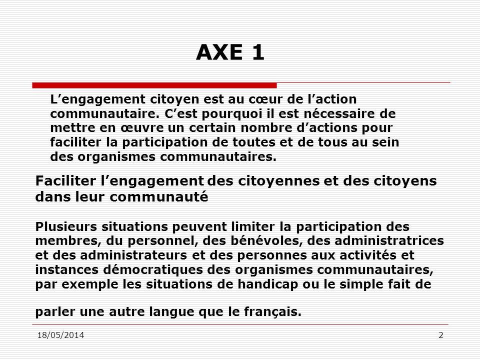 18/05/201433 Axe 4-2 Assurer la cohérence et la constance des interventions gouvernementales en matière daction communautaire et daction bénévole.
