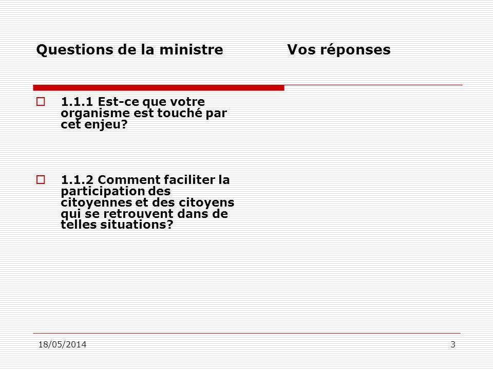 18/05/201434 Questions de la ministre Vos réponses 4.2.1 Faut-il rendre ce document normatif pour chacun des ministères et organismes gouvernementaux ayant un programme, une mesure ou un fonds soutenant des organismes communautaires.