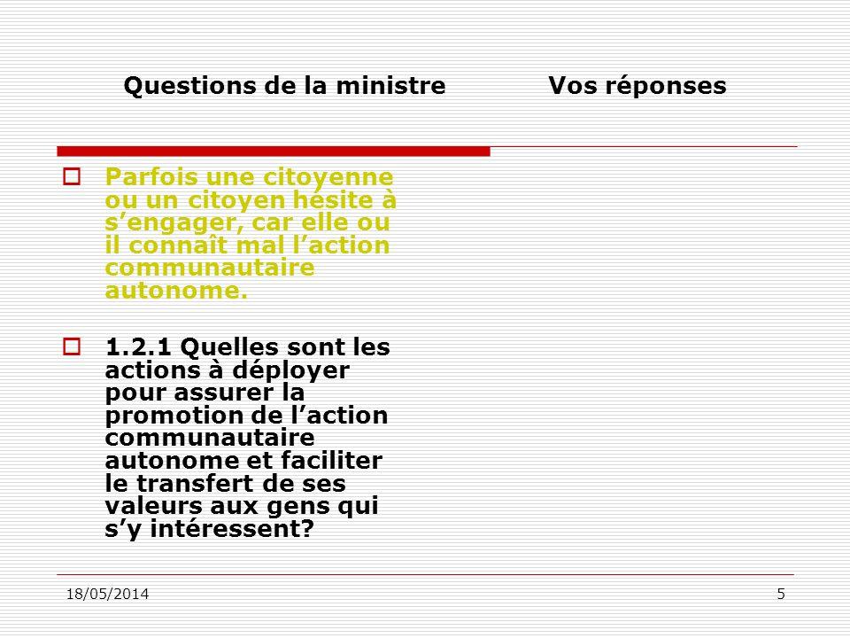 18/05/201436 Questions de la ministreVos réponses 4.3.1 Quels mécanismes devraient être mis en place par le gouvernement du Québec pour assurer un suivi rigoureux de la mise en œuvre de ce plan daction gouvernemental : renforcer le Comité interministériel de laction communautaire, effectuer une deuxième évaluation de la mise en œuvre de la politique gouvernementale ou déposer une reddition de comptes de la mise en œuvre du nouveau plan daction gouvernemental?