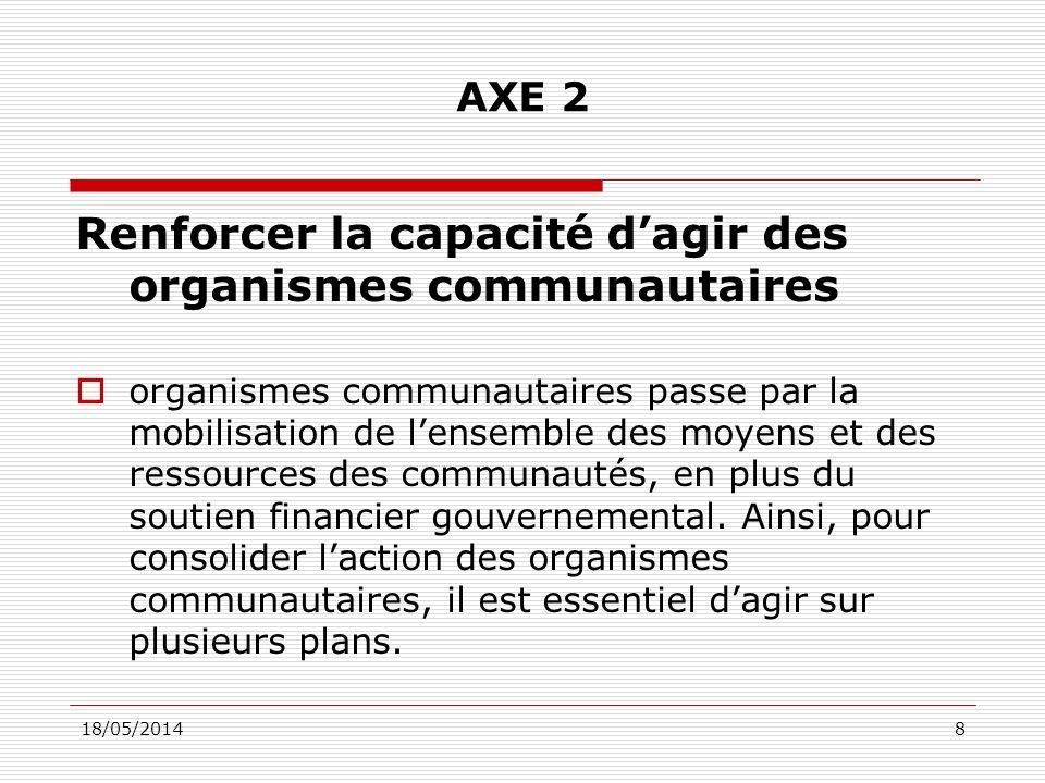 18/05/20148 AXE 2 Renforcer la capacité dagir des organismes communautaires organismes communautaires passe par la mobilisation de lensemble des moyens et des ressources des communautés, en plus du soutien financier gouvernemental.