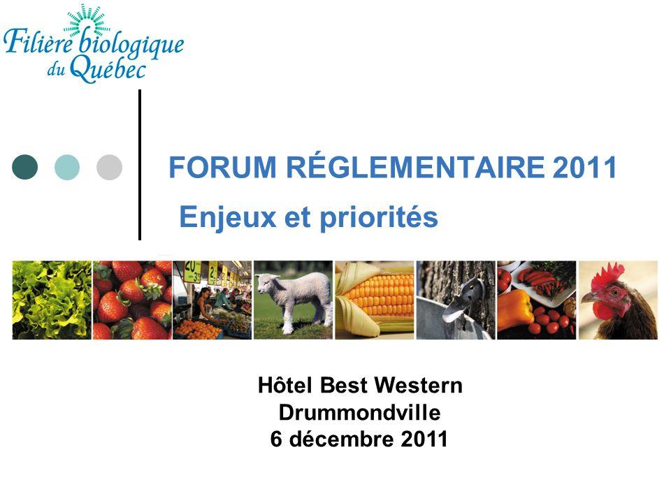 Plan de présentation 1.Filière biologique du Québec; 2.Plan de développement du secteur; 3.Enjeux et priorités (en matière dencadrement réglementaire) 4.Conclusion