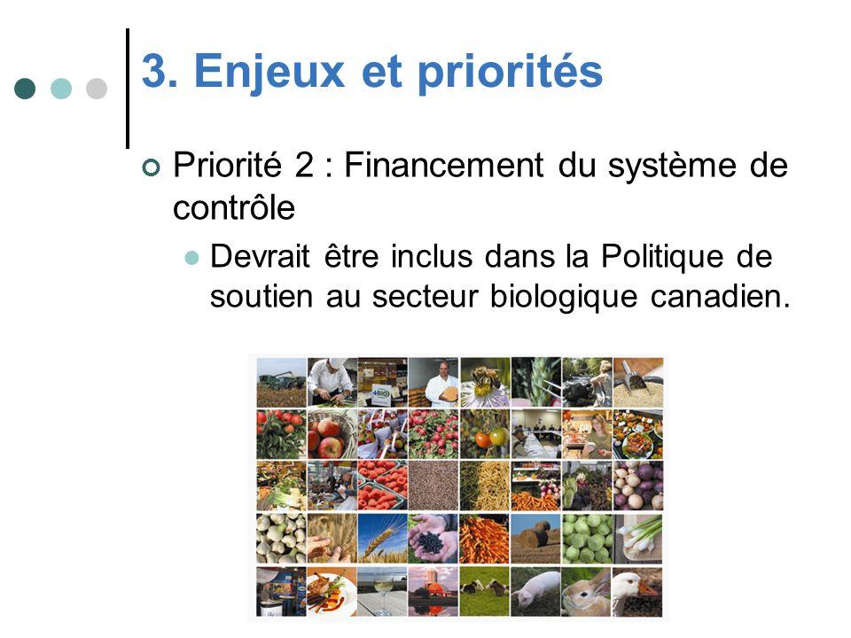 3. Enjeux et priorités Priorité 2 : Financement du système de contrôle Devrait être inclus dans la Politique de soutien au secteur biologique canadien