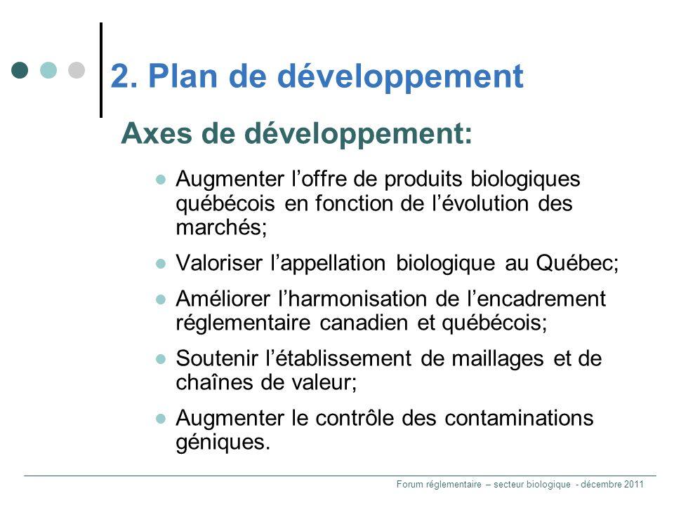 Axes de développement: Augmenter loffre de produits biologiques québécois en fonction de lévolution des marchés; Valoriser lappellation biologique au