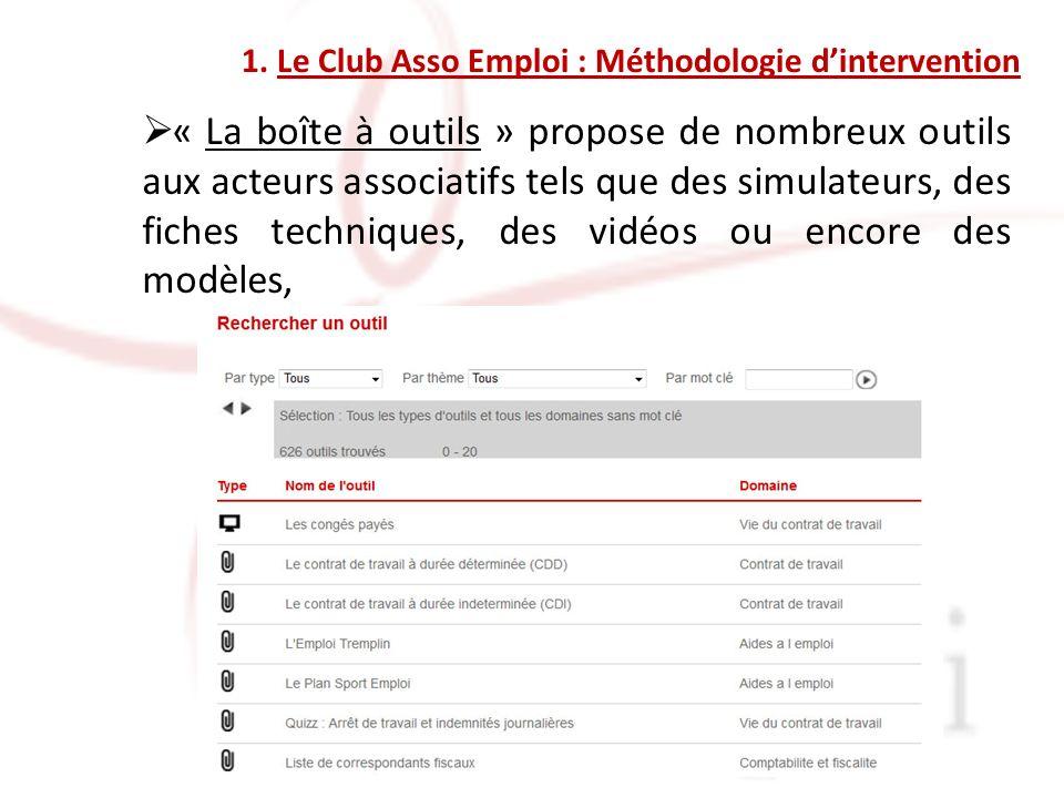 « La boîte à outils » propose de nombreux outils aux acteurs associatifs tels que des simulateurs, des fiches techniques, des vidéos ou encore des modèles,