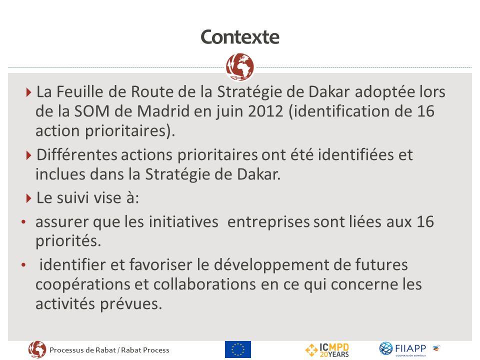 Processus de Rabat / Rabat Process Contexte La Feuille de Route de la Stratégie de Dakar adoptée lors de la SOM de Madrid en juin 2012 (identification