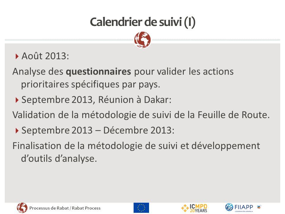 Processus de Rabat / Rabat Process Calendrier de suivi (II) Janvier 2014 – Février 2014: Recherche des projets mise en œuvre par les partenaires; Comparaison entre les législations.