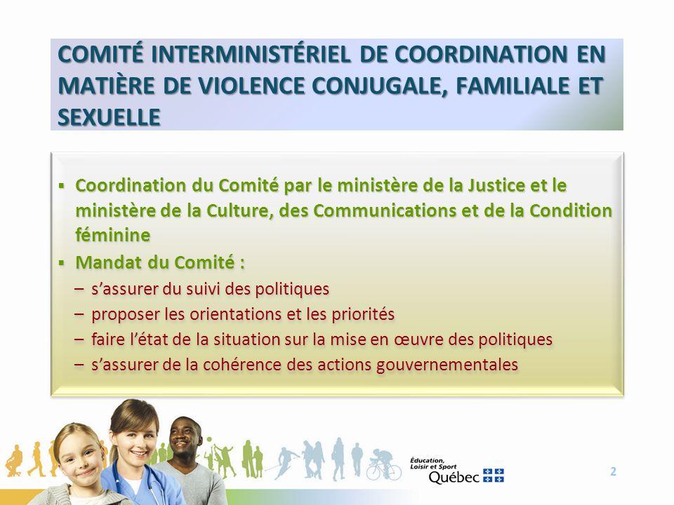 COMITÉ INTERMINISTÉRIEL DE COORDINATION EN MATIÈRE DE VIOLENCE CONJUGALE, FAMILIALE ET SEXUELLE 2 Coordination du Comité par le ministère de la Justic