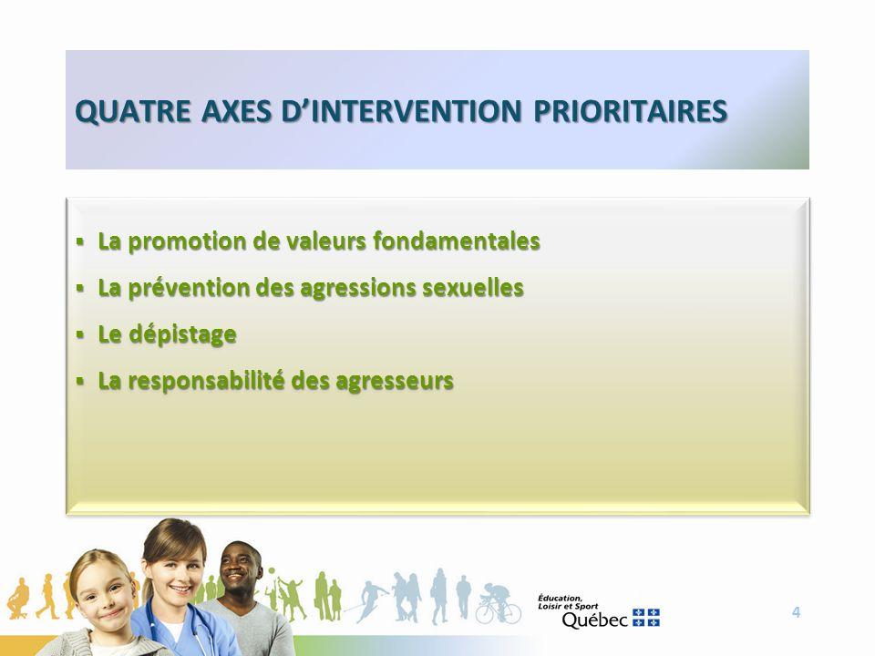 4 QUATRE AXES DINTERVENTION PRIORITAIRES La promotion de valeurs fondamentales La promotion de valeurs fondamentales La prévention des agressions sexu