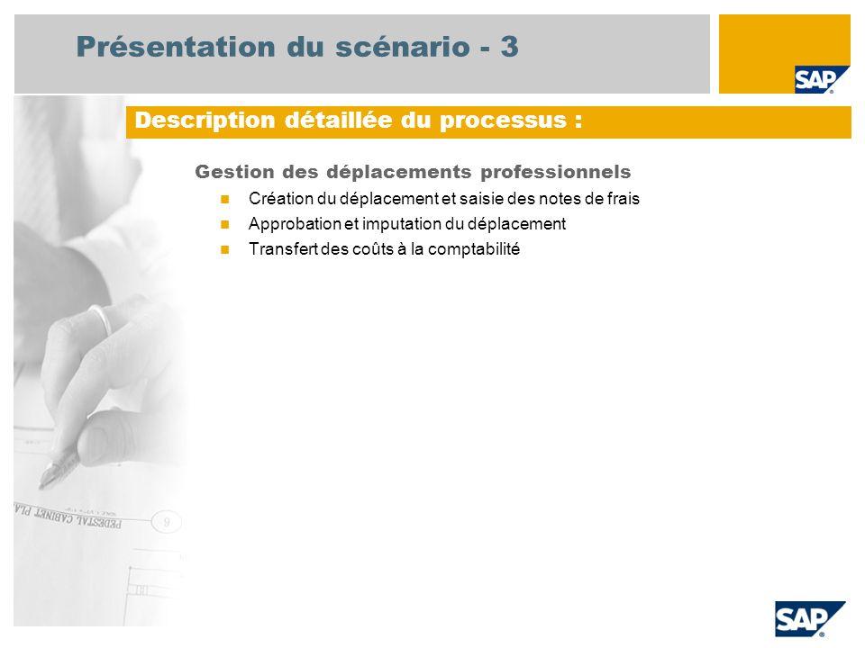 Présentation du scénario - 3 Gestion des déplacements professionnels Création du déplacement et saisie des notes de frais Approbation et imputation du